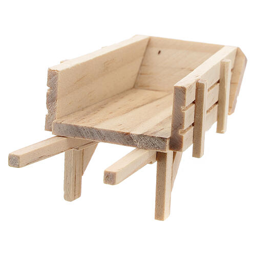 Carrinho de mão madeira clara para presépio com figuras altura média 10 cm 5