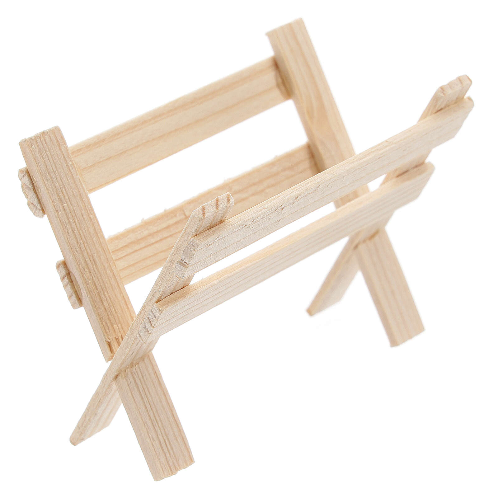 Empty wood manger for Nativity Scene with 8 cm figurines 4
