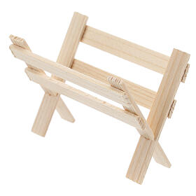 Empty wood manger for Nativity Scene with 8 cm figurines s2