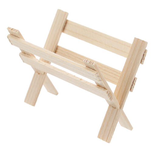 Empty wood manger for Nativity Scene with 8 cm figurines 2