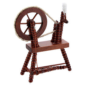 Roda de fiar com lã em miniatura madeira cor mogno para presépio com figuras altura média 10 cm s3