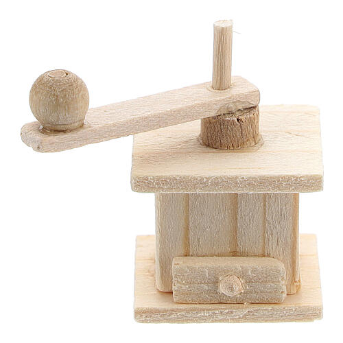 Wood coffee mill for Nativity Scene with 8 cm figurines 1