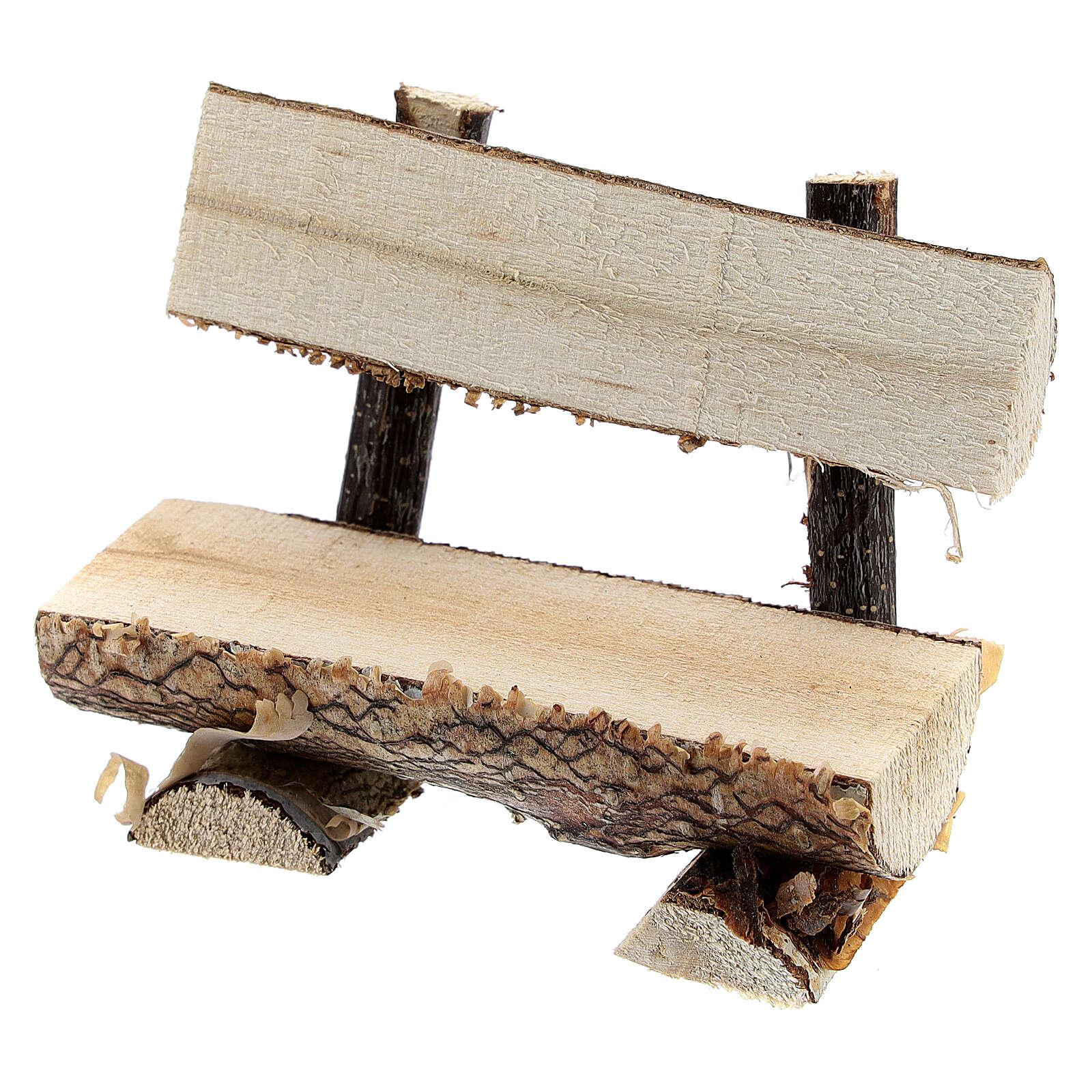 Banc tronc arbre crèche 8 cm 4