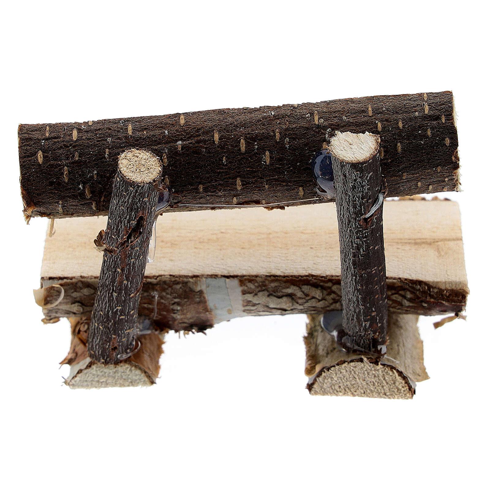 Panchina tronco albero presepe 8 cm 4