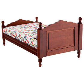 Mahogany bed 8,5x16 cm flower pattern blanket for Nativity Scene with 14-16 cm figurines s4