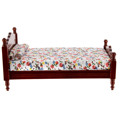 Mahogany bed 8,5x16 cm flower pattern blanket for Nativity Scene with 14-16 cm figurines 1