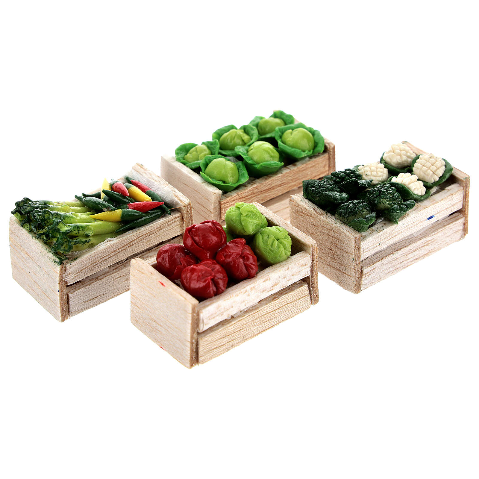 Caixas de verduras e legumes miniaturas 2x2,5x2 cm para presépio com figuras altura média 8 cm, 12 unidades 4