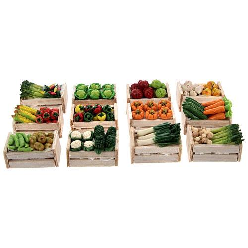 Caixas de verduras e legumes miniaturas 2x2,5x2 cm para presépio com figuras altura média 8 cm, 12 unidades 1