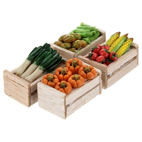 Caixas de verduras e legumes miniaturas 2x2,5x2 cm para presépio com figuras altura média 8 cm, 12 unidades 2