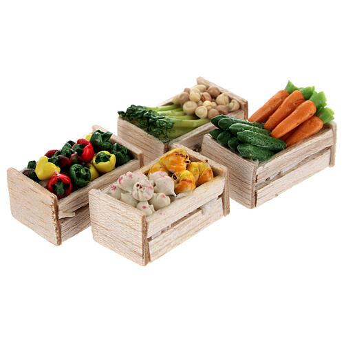Caixas de verduras e legumes miniaturas 2x2,5x2 cm para presépio com figuras altura média 8 cm, 12 unidades 6