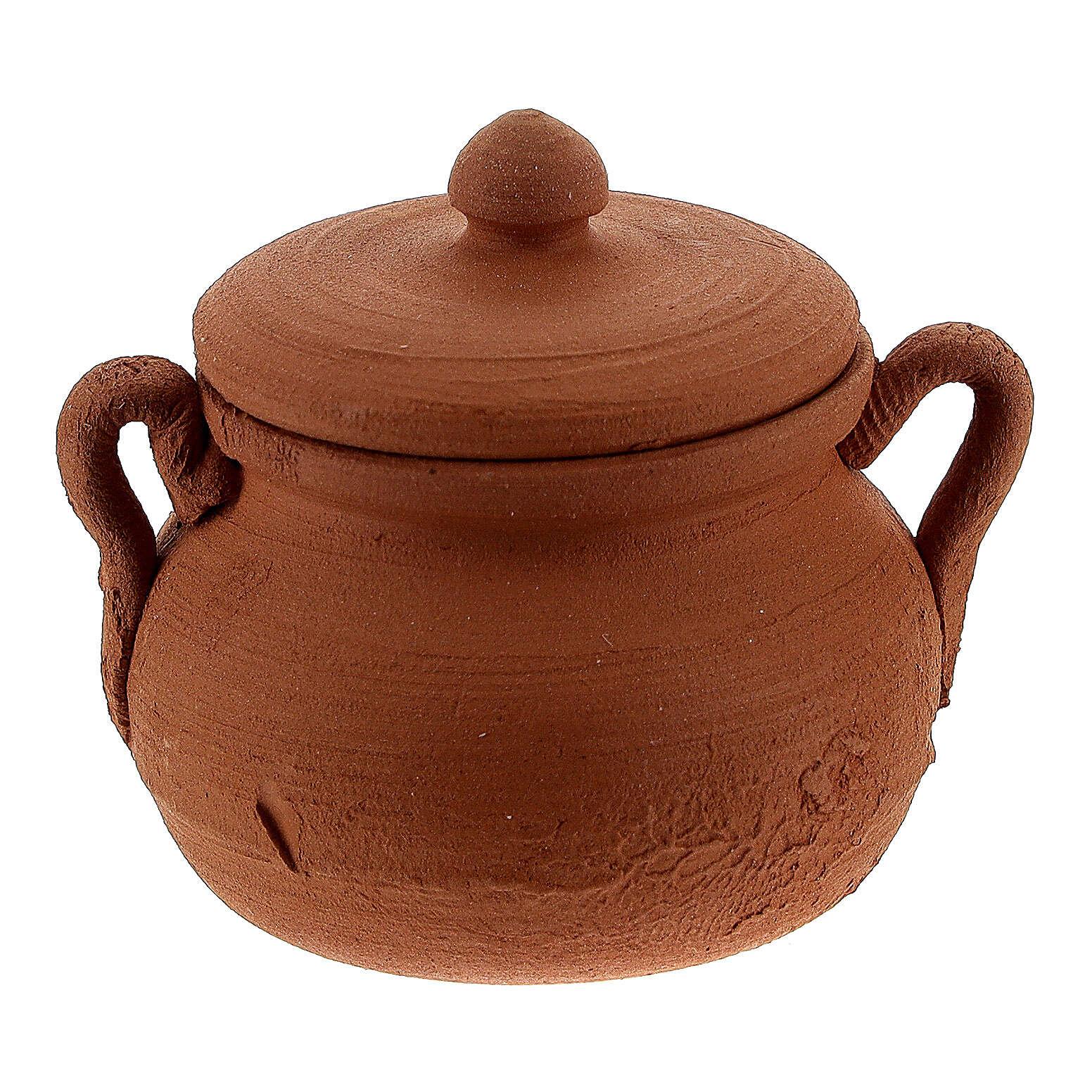 Terracotta pot with lid Nativity scene 12 cm 4