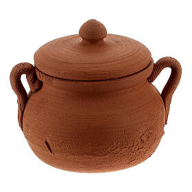 Clay pot with lid for Nativity Scene with 12 cm figurines s1