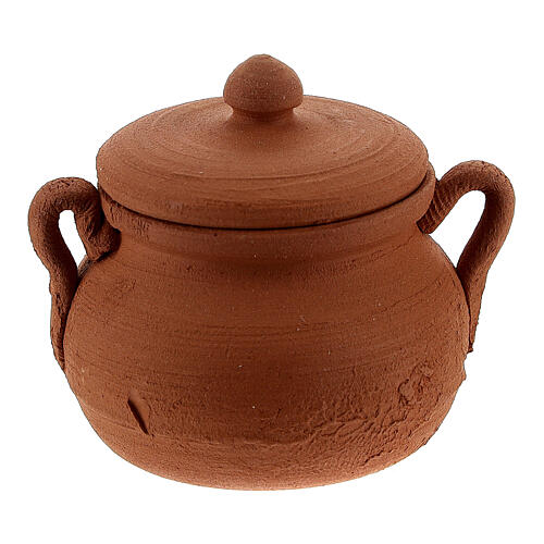Clay pot with lid for Nativity Scene with 12 cm figurines 1