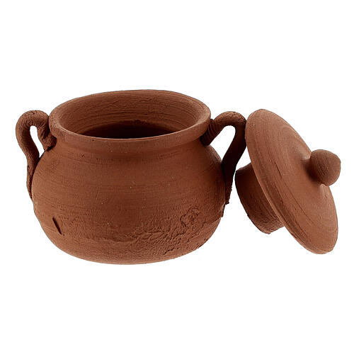 Clay pot with lid for Nativity Scene with 12 cm figurines 2