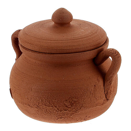 Clay pot with lid for Nativity Scene with 12 cm figurines 3