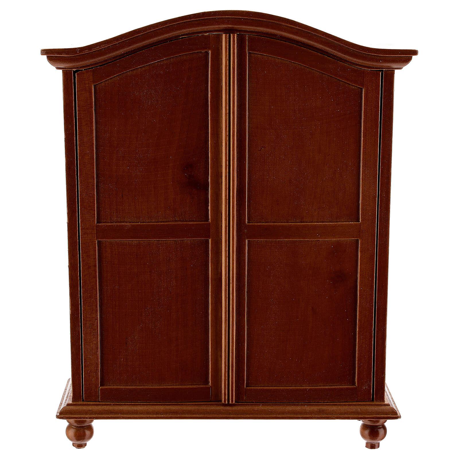 Wooden closet classic style 20x15x5 cm Nativity scene 12-14 cm 4