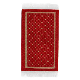 Red and gold carpet 8x5 cm for Nativity Scene with 10-16 cm figurines s1