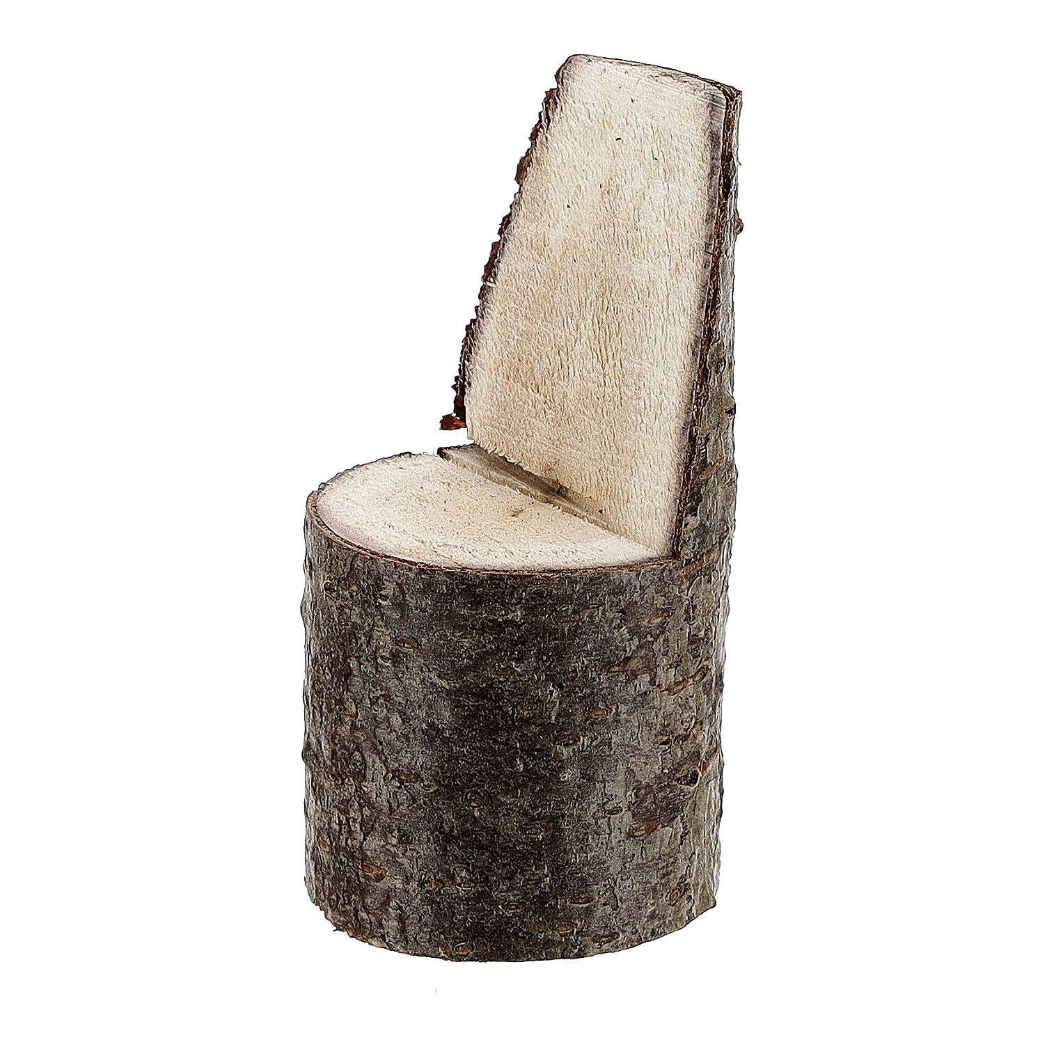 Cadeira com encosto miniatura 5 cm madeira para presépio com figuras altura média 8 cm 4