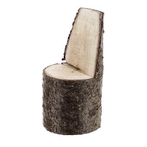 Cadeira com encosto miniatura 5 cm madeira para presépio com figuras altura média 8 cm 2