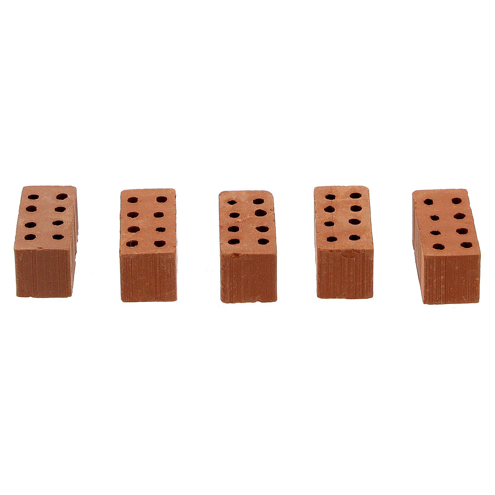 Tijolos retangulares terracota miniaturas 1x2x1 cm, 100 unidades 4