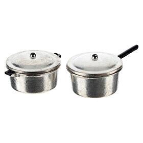 Set 4 casseroles métal crèche 6-8 cm s4