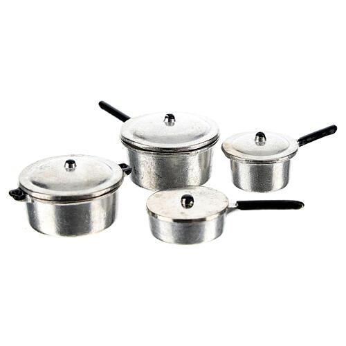 Set 4 casseroles métal crèche 6-8 cm 1