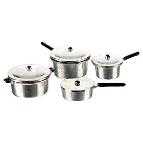 Set of 4 metal cooking pots for Nativity Scene with 6-8 cm figurines s1