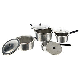 Set of 4 metal cooking pots for Nativity Scene with 6-8 cm figurines s2