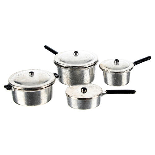 Set of 4 metal cooking pots for Nativity Scene with 6-8 cm figurines 1