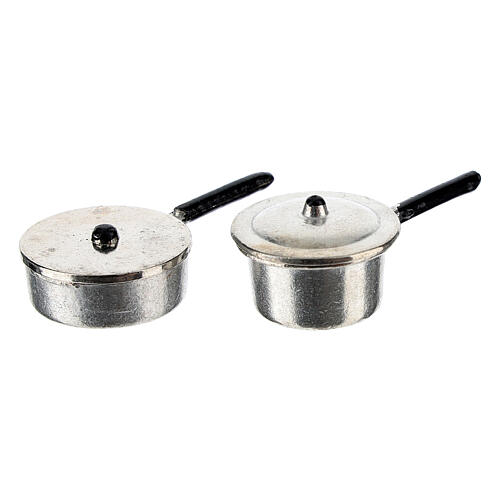 Set of 4 metal cooking pots for Nativity Scene with 6-8 cm figurines 3