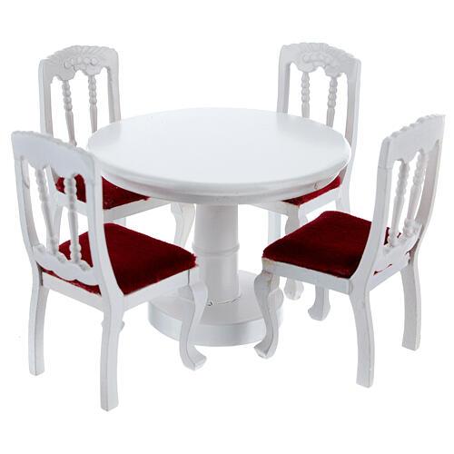 Meubles bois blanc salle à manger 7 pcs crèche 12 cm 6