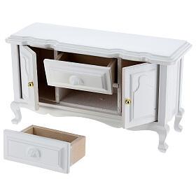 Mobiliário sala de estar 7 peças madeira branca para presépio com figuras altura média 12 cm s3