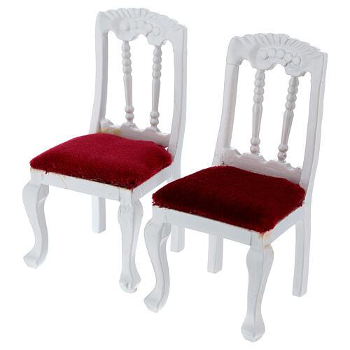 Mobiliário sala de estar 7 peças madeira branca para presépio com figuras altura média 12 cm 8
