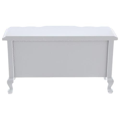 Mobiliário sala de estar 7 peças madeira branca para presépio com figuras altura média 12 cm 9