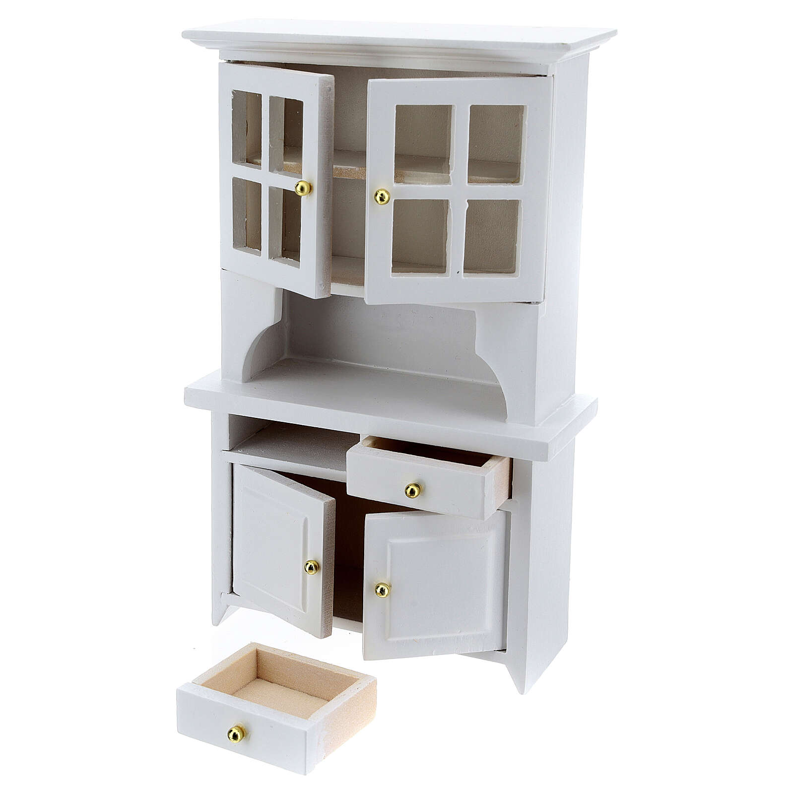 White wood furniture for dining room 7 items for Nativity Scene with 12 cm figurines 4