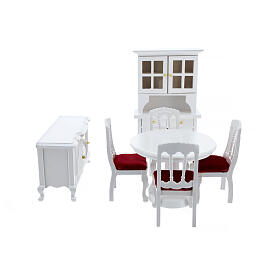 White wood furniture for dining room 7 items for Nativity Scene with 12 cm figurines s1