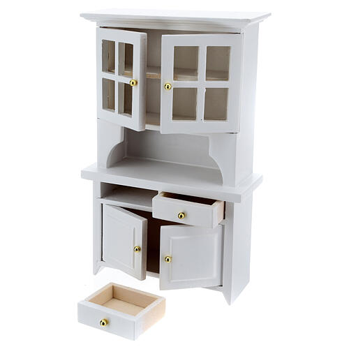 White wood furniture for dining room 7 items for Nativity Scene with 12 cm figurines 2