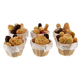 Set 6 baskets with bread Nativity scene 8-10 cm s1