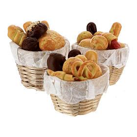 Set 6 baskets with bread Nativity scene 8-10 cm s4