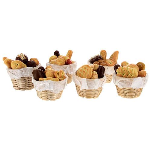 Set 6 baskets with bread Nativity scene 8-10 cm 2