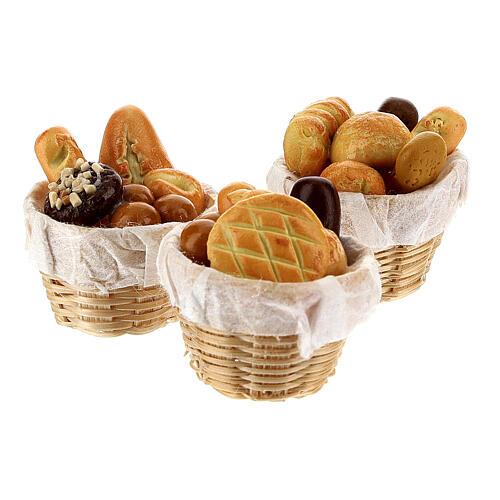 Set 6 baskets with bread Nativity scene 8-10 cm 3