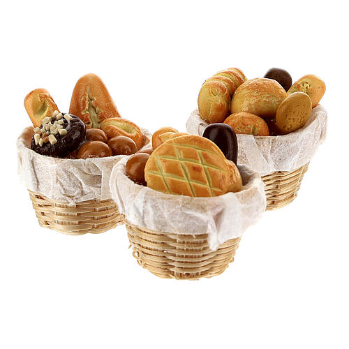 Set of 6 baskets with bread for Nativity Scene with 8-10 cm figurines 3