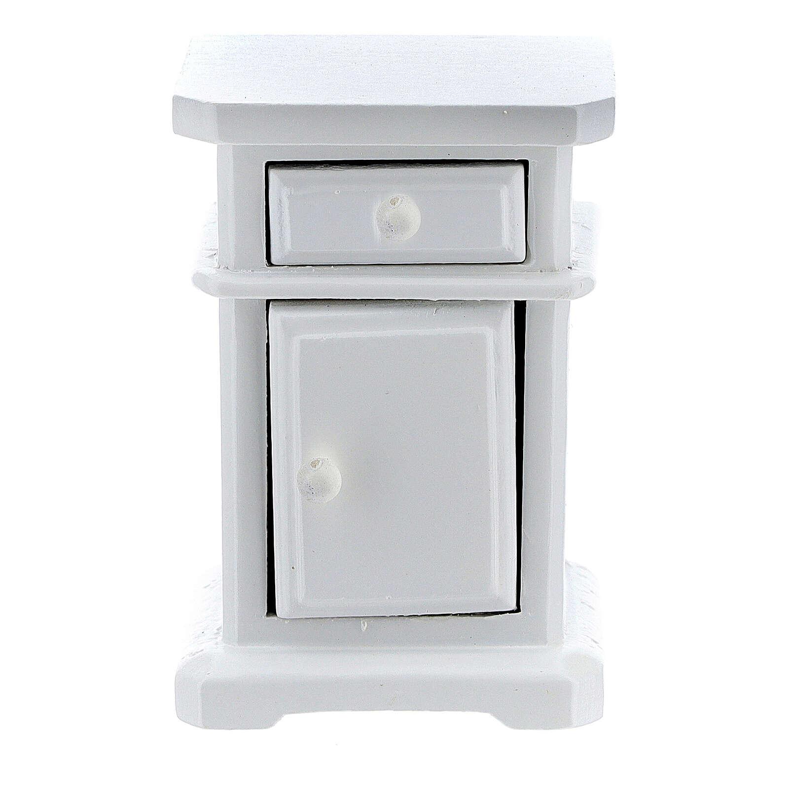 Table de nuit bois blanc 6x4x3 cm crèche 12-14 cm 4