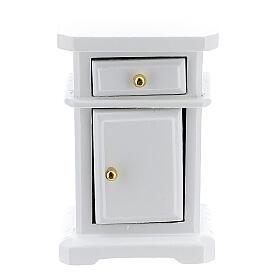 Table de nuit bois blanc 6x4x3 cm crèche 12-14 cm s1