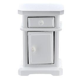Table de nuit bois blanc 6x4x3 cm crèche 12-14 cm s2