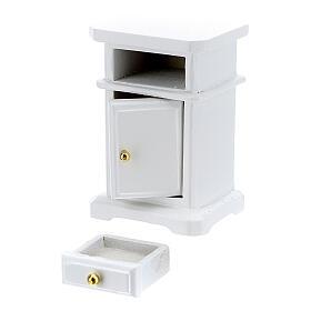 Table de nuit bois blanc 6x4x3 cm crèche 12-14 cm s3