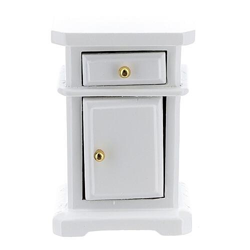 Table de nuit bois blanc 6x4x3 cm crèche 12-14 cm 1