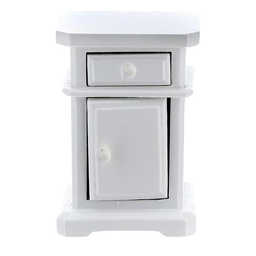 Table de nuit bois blanc 6x4x3 cm crèche 12-14 cm 2