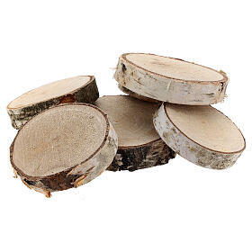 Tree trunk sections for Nativity Scene diameter 6-8 cm s1