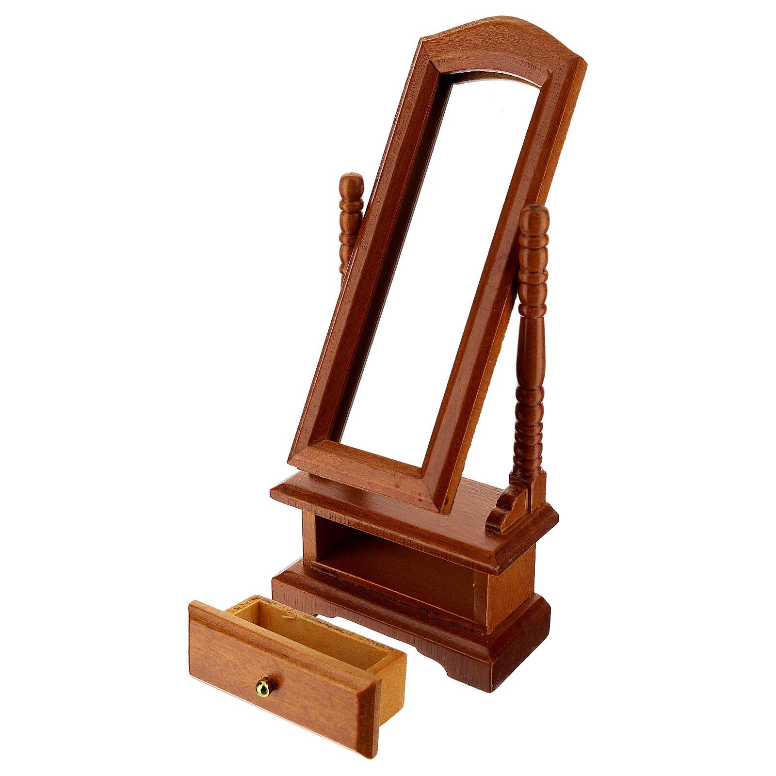 Espelho com gaveta miniatura para presépio com figuras de altura média 10-12 cm 4